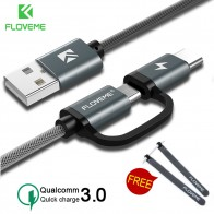 US $1.99 50% OFF|FLOVEME QC3.0 USB Type C Cable for Samsung Galaxy Note 9 S9 2.8A Micro USB Cable 2 in 1 Fast Charge USB C Cable for Redmi Note 7-in Mobile Phone Cables from Cellphones & Telecommunications on Aliexpress.com | Alibaba Group