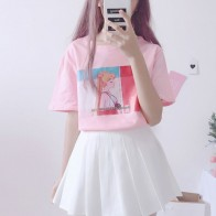 842.89 руб. 14% СКИДКА|Стиль Харадзюку Каваий розовый белая футболка Топы Для женщин летние 2019 в Корейском стиле кепки, кепки в стиле