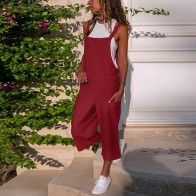 US $7.35 38% OFF|New Arrival  women bodysuit Sleeveless Dungarees Loose Cotton Linen Long Playsuit Party jumpsuits for women 2019#BY35-in Rompers from Women
