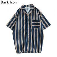 Мужская пляжная рубашка Dark Icon, летняя тропическая рубашка в полоску с передним карманом, Гавайский стиль, 2019 - Рубашки