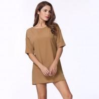 455.94 руб. 41% СКИДКА|2019 модное женское повседневное свободное платье с коротким рукавом женское мини платье серый/черный/хаки сексуальное летнее платье рубашка 4XL Vestidos-in Платья from Женская одежда on Aliexpress.com | Alibaba Group