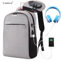 € 16.19 40% de réduction|WANGKA USB chargeur sac à dos pour ordinateur portable 15.6 pouces Anti vol femmes hommes sacs d