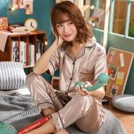 2019 Women Pajama Sets Short Sleeve Silk Pijama Spring Summer long pants Sleepwear Pyjamas Plus Size 3XL 4XL 5XL 85kg Nightwear