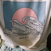US $10.23 7% OFF hahayuleAnd So It Is Ocean Wave Aesthetic T Shirt Women Tumblr 90s Fashion White Tee Cute Summer Tops-in T-Shirts from Women