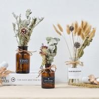 Пасторальная стеклянная ваза, украшение для дома, аксессуары, современный искусственный цветок, высушенный цветок, декор для свадебного ст... - Шикарные вазы