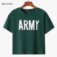US $9.45 14% OFF|Merry Pretty Women Tshirt 2018 Summer Style Army Green T Shirts Harajuku Loose Casual Tops Letter Print Female Cotton T shirt-in T-Shirts from Women
