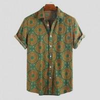 Гавайская Мужская рубашка с принтом, воротник с отворотом, уличная одежда, с коротким рукавом, летняя, дышащая, модная, Пляжная, повседневная... - Алик для парней