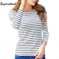 US $6.44 44% OFF|Soperwillton Cotton T shirt Women 2019 New Autumn Long Sleeve O Neck Striped Female T Shirt White Casual Basic Classic Tops #620-in T-Shirts from Women