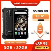 Ulefone Armor X5 MT6763 Восьмиядерный ip68 прочный водонепроницаемый смартфон Android 9,0 мобильный телефон 3 ГБ 32 ГБ NFC 4G LTE мобильный телефон