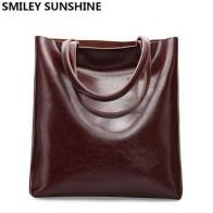 Женская сумка из коровьей кожи, большие Винтажные Сумки из натуральной кожи для офиса, 2020