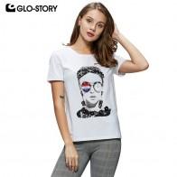 1050.83 руб. 49% СКИДКА|GLO STORY 2019 новые летние женские уличная Бисероплетение персонаж белые футболки с коротким рукавом женские топы Европейский стиль WPO 8157-in Футболки from Женская одежда on Aliexpress.com | Alibaba Group