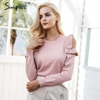 US $14.39 40% OFF|Simplee Elegant cold shoulder knitted sweater women jumper Casual long sleeve sweater female Autumn winter ladies pullover 2018-in Pullovers from Women
