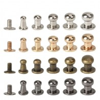 20Sets Metal Alloy Knob Screw Rivets Studs DIY Crafts Leather Belt Watchband Round Monk Head Rivets Spikes Decor Nail Buckles