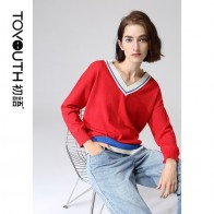Toyouth Casual Women Sweaters Hit Color Loose Long Sleeve Pullovers V-Neck Autumn Sweater Female Tops