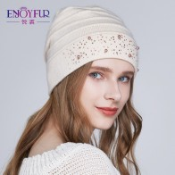 US $11.94 40% OFF|ENJOYFUR Winter Hats for Women Warm Wool Beanies Hat 2018 New Fashion Double Lining Caps With Rhinestones-in Women