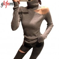 661.3 руб. 30% СКИДКА|Вязаный свитер с открытыми плечами пуловеры свитер для женщин с длинным рукавом Водолазка женский джемпер черный белый серый сексуальная одежда купить на AliExpress