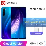 "Global Version Xiaomi Redmi Note 8 4GB 64GB Smartphone Snapdragon 665 Octa Core 48MP Quad Rear Camera 6.3"" FHD+ Screen 4000mAh"