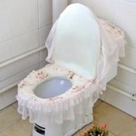 Кружевная Крышка для унитаза, трехсекционная Крышка для туалетной пыли, утолщенное сиденье для унитаза, домашний туалет, принадлежности дл...