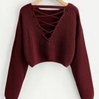 Короткий свитер на шнуровке