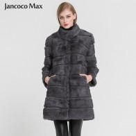 7084.24 руб. 48% СКИДКА|Jancoco Max Новинка 2018 года зима Настоящее Кролик теплая меховая куртка мягкие длинные Мех животных пальто для женщин рождественское платье S1675 купить на AliExpress