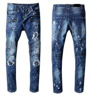 2858.23 руб. 40% СКИДКА|Новая Франция Стиль #1060 # Для мужчин с проблемных промасленной мото брюки рваные синие узкие джинсовые байкерские джинсы стрейч облегающие брюки размеры 29 42 купить на AliExpress