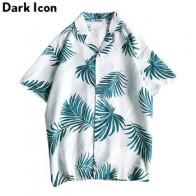 Мужская рубашка в гавайском стиле Dark Icon, винтажная рубашка с отложным воротником, тропическая рубашка с коротким рукавом, лето 2019 - Рубашки