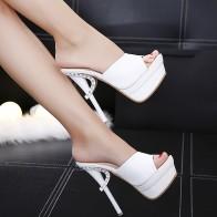 1621.69 руб. 38% СКИДКА|Женские шлепанцы на платформе; обувь на ультравысоком тонком каблуке 15 см; пикантные Босоножки с открытым носком для ночного клуба со стразами; женские Тапочки-in Тапочки from Туфли on Aliexpress.com | Alibaba Group