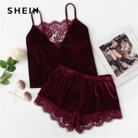 US $14.0 40% OFF|SHEIN 2018 Lace Trim Velvet Cami & Shorts Pajamas Set Women Burgundy Plain Spaghetti Strap Sleeveless Sexy Summer Sleepwear-in Pajama Sets from Underwear & Sleepwears on Aliexpress.com | Alibaba Group