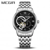 Скелет автоматические механические часы для мужчин MEGIR нержавеющая сталь Бизнес наручные часы Relogio Masculino Montre Homme купить на AliExpress