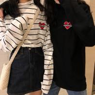 660.45 руб. 22% СКИДКА|Женские футболки топы японские дамы Ulzzang Love вышитые половина водолазка футболка Женская Корейская кофта с капюшоном для женщин-in Футболки from Женская одежда on Aliexpress.com | Alibaba Group