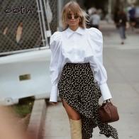 544.33руб. 44% СКИДКА|Уличная одежда с пышными рукавами, белые офисные женские рубашки, блузки с длинным рукавом и пуговицами, Повседневная блузка, Mujer, новинка, отложной воротник, топ с рюшами on AliExpress