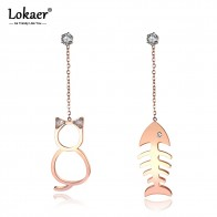 Lokaer Trendy Stainless Steel Asymmetry Drop Earrings Jewelry Rose Gold Crystal Cat And Fish Women Dangle Earrings E19119