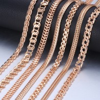 US $1.69 40% OFF|Personalize Necklace For Women Men 585 Rose Gold Venitian Curb Snail Foxtail Link Chains Necklace Fashion Jewelry 50cm 60cm CNN1-in Chain Necklaces from Jewelry & Accessories on Aliexpress.com | Alibaba Group