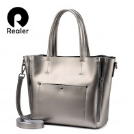 2582.93 руб. 62% СКИДКА|REALER сумка женская большая на плечо, большая сумочка на плечо для женщин высокого качества, сплит кожи сумочка большого объёма 2018, сумка на плечо для женщин-in Сумки с ручками from Багаж и сумки on Aliexpress.com | Alibaba Group