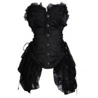 Women Elegant Satin Lengthen Sexy Black Lace Corset Bustier