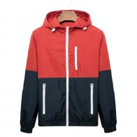 US $8.45 53% OFF Windbreaker Men Casual Spring Autumn Lightweight Jacket 2019 New Arrival Hooded Contrast Color Zipper up Jackets Outwear Cheap-in Jackets from Men