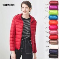 US $20.78 40% OFF|Down jacket women hooded 90% duck down coat Ultra Light warm large size Female Solid Portable stand collar down jacket winter-in Down Coats from Women