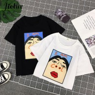 US $7.06 37% OFF|Jielur Harajuku I am Cool Funny Letter Print White T shirt Women Korean Creative Female T shirt Fashion Spoof Black Top Tee S XL-in T-Shirts from Women