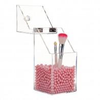 Caja de almacenamiento de arreglo de maquillaje acrílico transparente diseño sencillo transparente soporte de brocha cosmética de escritorio estuche organizador