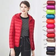 US $20.78 40% OFF|Down jacket women hooded 95% duck down coat Ultra Light warm large size Female Solid Portable stand collar down jacket winter-in Down Coats from Women