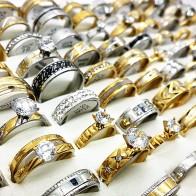 US $28.19 6% OFF|Wholesale 50pcs ring set silver gold black men