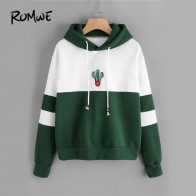 US $24.98 |ROMWE Drawstring Color Block Cactus Embroidered Hoodie  Spring Autumn Long Sleeve Ladies Casual Sporty Pullovers Sweatshirt-in Hoodies & Sweatshirts from Women