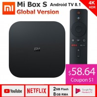 3661.87 руб. 24% СКИДКА|Xiaomi mi Box S 4 K tv Box Cortex A53 четырехъядерный 64 бит Mali 450 1000Mbp Android 8,1 2 ГБ + 8 Гб HD mi 2,0 2,4G/5,8G WiFi BT4.2 последняя-in ТВ-приставки from Бытовая электроника on Aliexpress.com | Alibaba Group