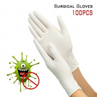 100pcs одноразовые хирургические перчатки латексные перчатки Белый Non-Slip кислоты и щелочной лаборатории резины – купить по низким ценам в интернет-магазине Joom - Маски и перчатки на Joom