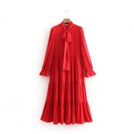 US $21.15 42% OFF|England Style OL Women Red Bow Tie Collar Long Dress Elegant Office Lady Ankle Length A Line Dresses 2019 Casual Vestidos-in Dresses from Women