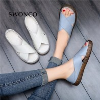 US $12.49 25% OFF|SWONCO Women Sandals 2019 Summer Casual Women Shoes PU Leather Ladies Flat Soft Bottom Slip On Sandals Handmade Woman Sandal-in Women
