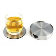 6 PCS Coasters - Stainless Steel Holder with Coaster Set - Bar Drink Milk Coffee Tea Cup Mugs Holders Home Garden Supplies