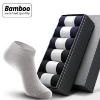 HSS 5 пар/лот, мужские носки из бамбукового волокна, короткие носки до щиколотки, высокое качество, летние, зимние, деловые, дышащие мужские нос...