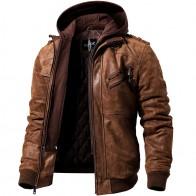 7841.81 руб. 40% СКИДКА|Мужская кожаная куртка, коричневый жакет из натуральной кожи со съемным капюшоном, теплая кожаная куртка для мужчин на зиму-in Куртки из кожи from Мужская одежда on Aliexpress.com | Alibaba Group
