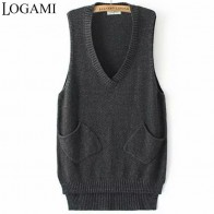 US $10.87 32% OFF|LOGAMI V Neck Long Vest Knitted Women Sweaters And Pullovers Woman Sleeveless Casual Pocket Sweater Pull Femme-in Vests from Women